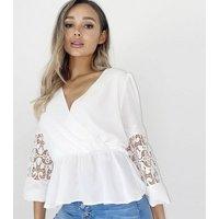 Quiz White Crochet Wrap Blouse New Look