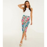 QUIZ Multicoloured Floral Spot Knit Wrap Midi Skirt New Look