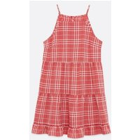 Red Check Strappy Tiered Halter Sundress New Look