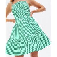 Green Stripe Poplin Square Neck Sundress New Look