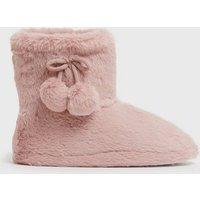 Pink Fluffy Pom Pom Boot Slippers New Look Vegan