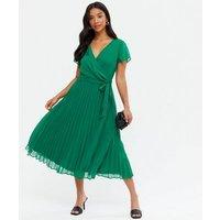 Petite Green Pleated Wrap Midi Dress New Look