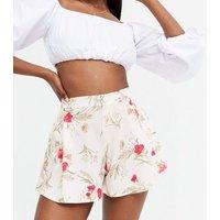 White Floral High Waist Wide Leg Shorts New Look