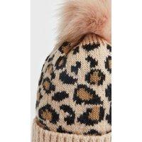 Brown Leopard Print Faux Fur Bobble Hat New Look