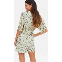 Yellow Ditsy Floral Belted Playsuit New Look