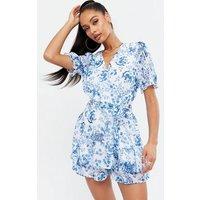 Quiz Bright Blue Floral Wrap Playsuit New Look