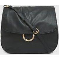 Black Leather-Look Ring Shoulder Bag New Look