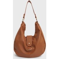Tan Leather-Look Ring Front Slouch Tote Bag New Look