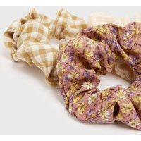 3 Pack Cream Gingham and Floral Scrunchies New Look