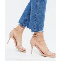 Cream Mesh Panel Stiletto Heel Sandals New Look Vegan