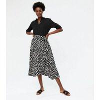 Cameo Rose Black Animal Print Tie Wrap Midi Skirt New Look
