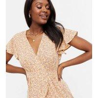 Cameo Rose Yellow Ditsy Floral Ruffle Midi Dress New Look