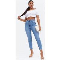 Cameo Rose White Shirred Bardot Crop Top New Look