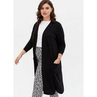 Noisy May Curves Black Double Pocket Long Cardigan New Look
