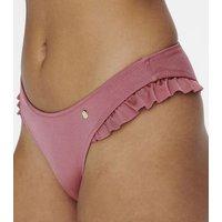 ONLY Mid Pink Ruffle Brazilian Bikini Bottoms New Look