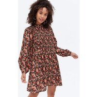 Tall Black Ditsy Floral High Neck Mini Smock Dress New Look