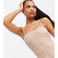 Pale Pink Lace Square Neck Mini Bodycon Dress New Look