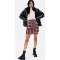 Red Check Bouclé High Waist Mini Skirt New Look