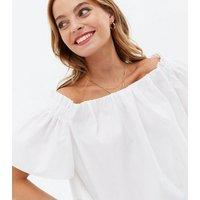 Petite White Poplin Shirred Bardot Top New Look