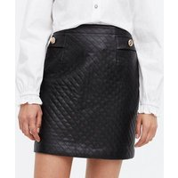 Black Quilted Leather-Look Button Mini Skirt New Look
