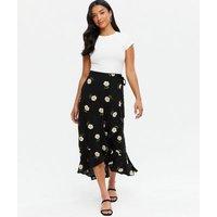 Petite Black Daisy Ruffle Wrap Midi Skirt New Look