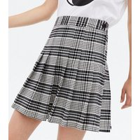 Black Check High Waist Pleated Mini Tennis Skirt New Look