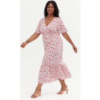 Curves White Ditsy Floral Shirred Midi Wrap Dress New Look