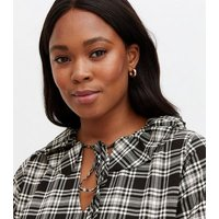 Curves Black Check Frill Tie Collar Tiered Mini Smock Dress New Look
