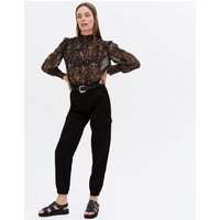 Black Floral Chiffon Shirred Frill High Neck Blouse New Look