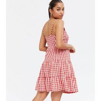 Petite Red Check Tiered Strappy Sundress New Look