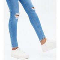 Girls Bright Blue Ripped Jenna Skinny Jeans New Look