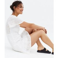 Cameo Rose White Broderie Tiered Mini Wrap Dress New Look