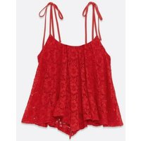 Petite Red Lace Tie Strap Hanky Hem Cami New Look