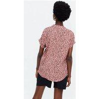 Pink Leopard Print Short Sleeve Overhead Shirt New Look