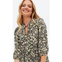 Black Ditsy Floral Peplum Tunic Top New Look