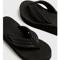 Truffle Collection Black Platform Wedge Flip Flops New Look