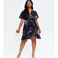 Mela Curves Navy Floral Frill Wrap Dress New Look
