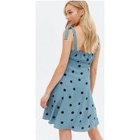 Blue Spot Bustier Ruched Tie Strap Mini Dress New Look