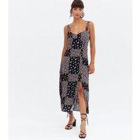Black Ditsy Floral Split Hem Midi Dress New Look