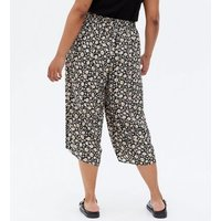 Curves Black Daisy Wide Leg Trousers New Look
