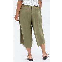 Curves Khaki Crop Wide Leg Trousers New Look