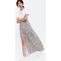 Black Ditsy Floral Split Midi Skirt New Look