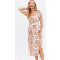 White Floral Split Hem Ruched Bustier Midi Dress New Look