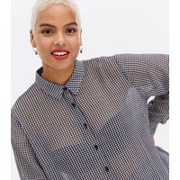 Curves Black Gingham Chiffon Long Sleeve Shirt New Look