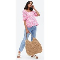 Maternity Pink Floral Tie Back Peplum Blouse New Look