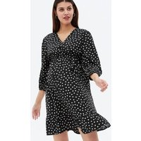 Maternity Black Heart Crepe Mini Wrap Dress New Look