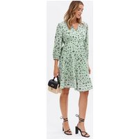 Maternity Light Green Ditsy Floral Crepe Mini Wrap Dress New Look