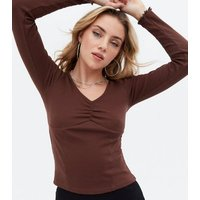 Dark Brown Ruched Long Sleeve Corset Top New Look