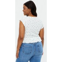Curves White Floral Ribbed Ruched Frill Tie Front Top New Look