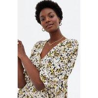 Black Floral Tie Back Peplum Tunic Top New Look
